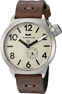 Vestal Canteen Makers Stainless Steel Japanese-Quartz Watch with Leather Calfskin Strap, Brown, 22 (Model: CNTMAK002)