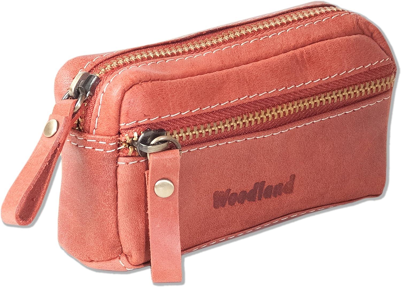 Woodland® Leder Schlüsseltasche mit 2 Ringen in Dunkelbraun aus Büffelleder