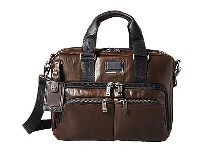 Tumi Alpha Bravo Albany Slim Commuter Brief (Dark Brown Leather) Briefcase Bags