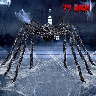 ديكورات هالوين عملاقة ذات شعر العنكبوت العملاق 17.78 سم ديكور الفناء الخارجي المخيف، رمادي وأسود