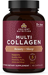 Multi Collagen Capsules, Beauty + Sleep, Collagen Pills + Magnesium, Formulated by Dr. Josh Axe, 5 Types of...