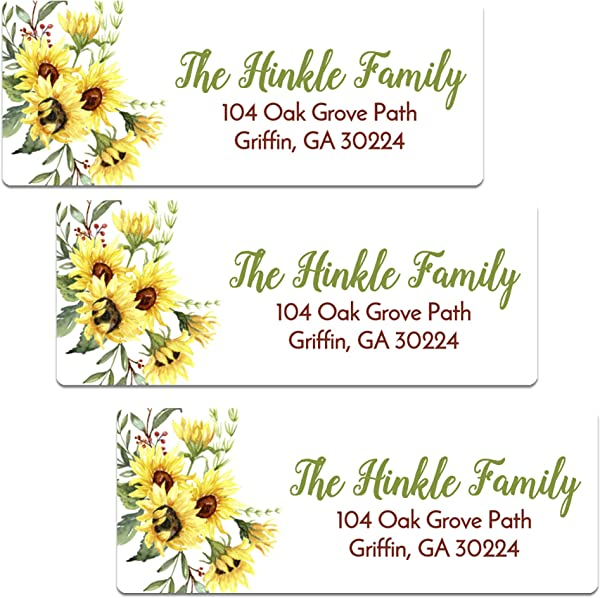Personalized Sunflower Themed Address Labels Set Of 60 Customized Return Address Labels AL121