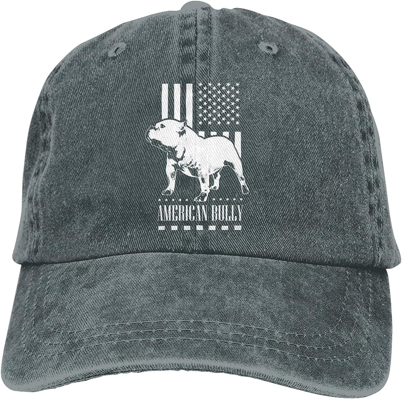 CUTEDWARF American Flag Bully Unisex Adjustable Cotton Baseball Hat Cowboy Cap Dad Hats Denim Trucker Hat
