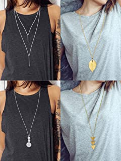 4 Pieces Long Pendant Necklace Set, Layer Simple Bar Necklace Tassel Y Strands for Women