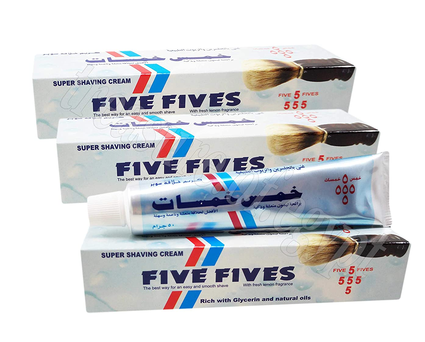 発表する旋律的弾丸Five Fives Super Shaving Cream Men Smoothing Toiletries Lather Shave Skin with Menthol & Glycerin & Coconut Oil Fresh Lemon Fragrance Tube 50 g (3 Packs / 150 g)
