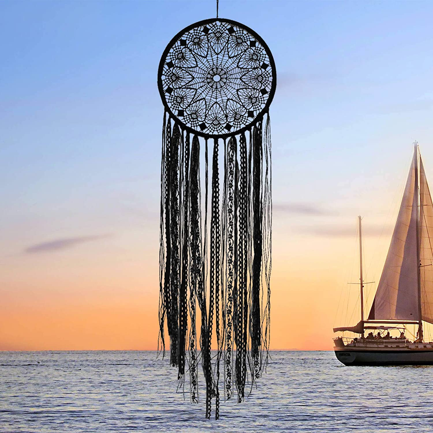Orgrimmar Black Dream Catcher Handmade Dream Catcher Bohemian Lace Wall Decor for Bedroom, Living Room and Kids Room