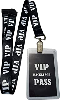 RockNerdy - VIP Lanyard w/Safety Breakaway, Plastic Card Holder and Card Pass - ID Holder for Backstage Concert Event Party Birthday Gaming Ticket - ID Badge Holder for Men Women (Black 10 Lanyards)