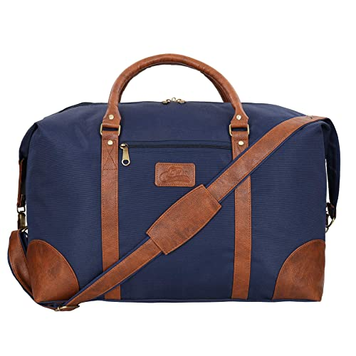 2eb359806 Leather World 46.2 Liter Blue 21 Inch PU Leather Nylon Duffle Bags with Zip  Closure Luggage