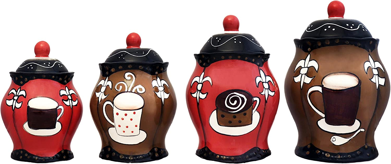 Tuscany Hand Painted Fleur De Lis Coffee Design, Canister Set of 4, 85101 5JJHG by ACK