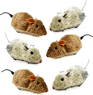 6 Halloween Mice Decoration Wind Up Realistic Furry Mouse Brown & Grey Hairy Scary Creepy Spooky Props For Adult Kid Children Play Windup Racing Running Moving Large Plastic Fake Gag Prank Toy 6.75