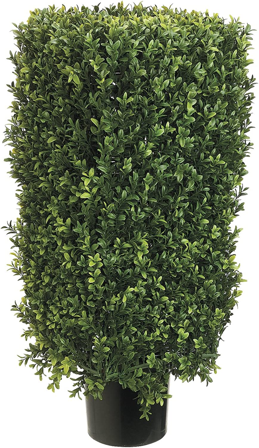 Silk Decor 30-Inch Rectangle Boxwood Topiary Plant, Green Two-Tone