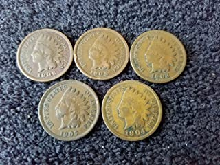 1900 thru 1909 Various Indian Head Pennies Set of 5 coins all Different Dates - in Gift Bag Indian Head Good and Better Genuine