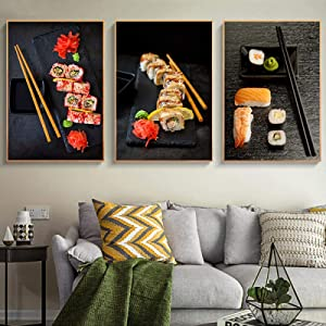 Liuqidong Modern Posters Picture Japanese Food Sushi Restaurant Dining Hall Decoration Salmon Shrimp Canvas Prints Wall Home Decals (70x100cm) X3 Unframed