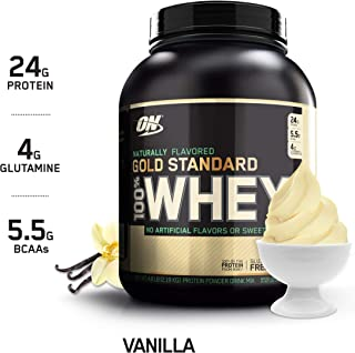 OPTIMUM NUTRITION GOLD STANDARD 100% Whey Protein Powder, Naturally Flavored Vanilla, 4.8 Pound