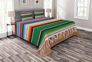 Lunarable Mexican Bedspread, Colorful Boho Serape Pattern with Horizontal Stripes and Lines Cultures Picture, Decorative Quilted 3 Piece Coverlet Set with 2 Pillow Shams, King Size, Green Red