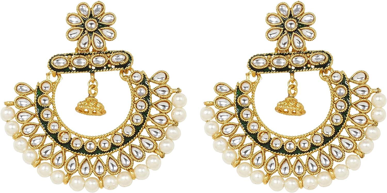 SANARA Indian Bollywood Traditional Ethnic Gold Tone Beautiful White Kundan Pearl Polki Earring Earring Set Wedding Jewelry