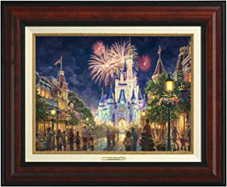 Thomas Kinkade Canvas Classic Main Street U.S.A. Walt Disney World Resort - 12''x 16'' - Burl Frame - 66840