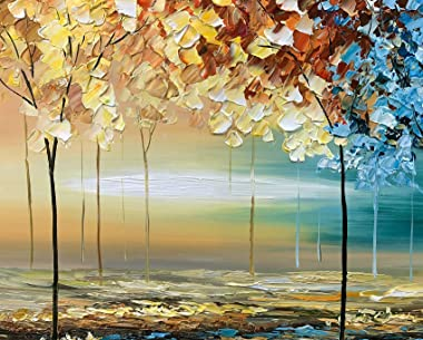 tiancheng Art, 24X48 inch Modern Abstract Hand Painted Oil Paintings Acrylic Canvas Art Wall Art Framed Paintings for Bedroom