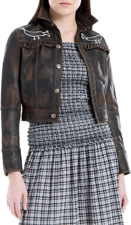 Max Studio London Womens Philomene Lamb Leather Embroidered Cropped Jacket