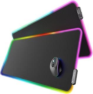 YSAGi RGB Gaming Mauspad XXL 900x400mm LED Mousepad aus PU-Leder, Große Schreibtischunterlage mit 7 LED Farben 10 Beleucht...