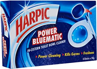 Harpic Power Bluematic In-Cistern Toilet Bowl Cleaner Block, 50g (Pack of 6)