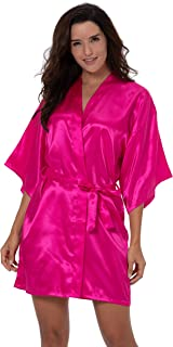 Women's Satin Short Kimono Robe Solid Color Dressing Gown Bridal Party Robe