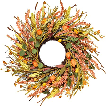 Amazon Com Dsxnklnd 24 Inch Artificial Fall Harvest Fall Wreaths For Front Door Thanksgiving Decor Kitchen Dining