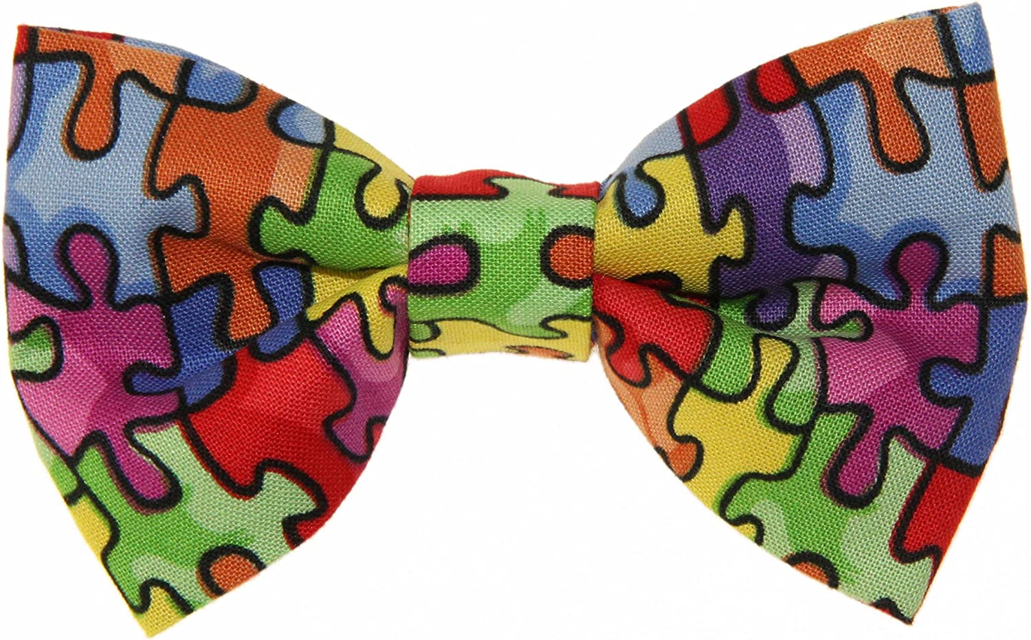 Boys Puzzle Pieces Clip On Cotton Bow Tie Bowtie by amy2004marie