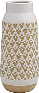 "Stone & Beam Emerick Rustic Stoneware Vase with Geometric Pattern, 12.01""H, Gray White"