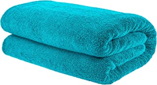 AmericanBathTowels Premium Extra Large Jumbo Turkish Bath Sheet Towel, Oversized (40x80 inches), Ring Spun Cotton for Absorbency and Softness, Aqua Blue