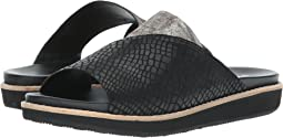 Black Croc Embossed Sheepskin/Pewter Metallic Sheepskin