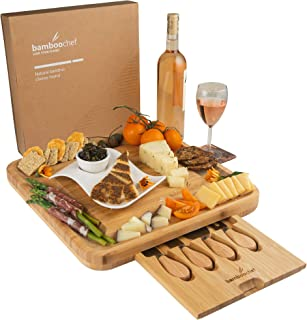Bamboo Cheese Board and Knife Set in Kraft Gift Box | Charcuterie Serving Platter – Unique Gift for Birthdays, Mom, Wedding Registry, Housewarming – Hidden Cutlery Tray