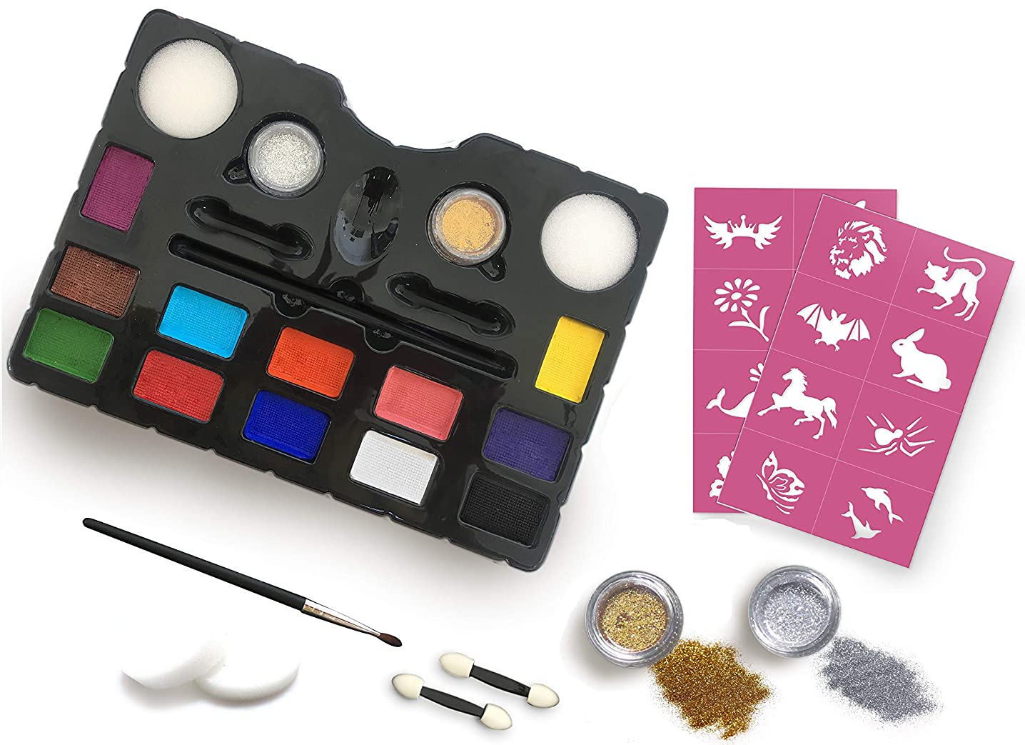 Face Painting Kit –+16 Stencils – 12 Vibrant Colors – Silver and Gold Glitters – Easy to Use Face Painting Kit for Kids – Safe and Non-Toxic – Water Based – Body Makeup