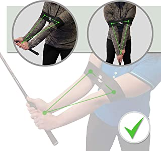 Golf Swing Training Aid Arm Band - Best Training Strap to Fix Posture, Wrist and Elbow. Easy to Use - Works for both Left- and Right-Handed. Makes a Great Gift for Golfers from Beginners to Pros.