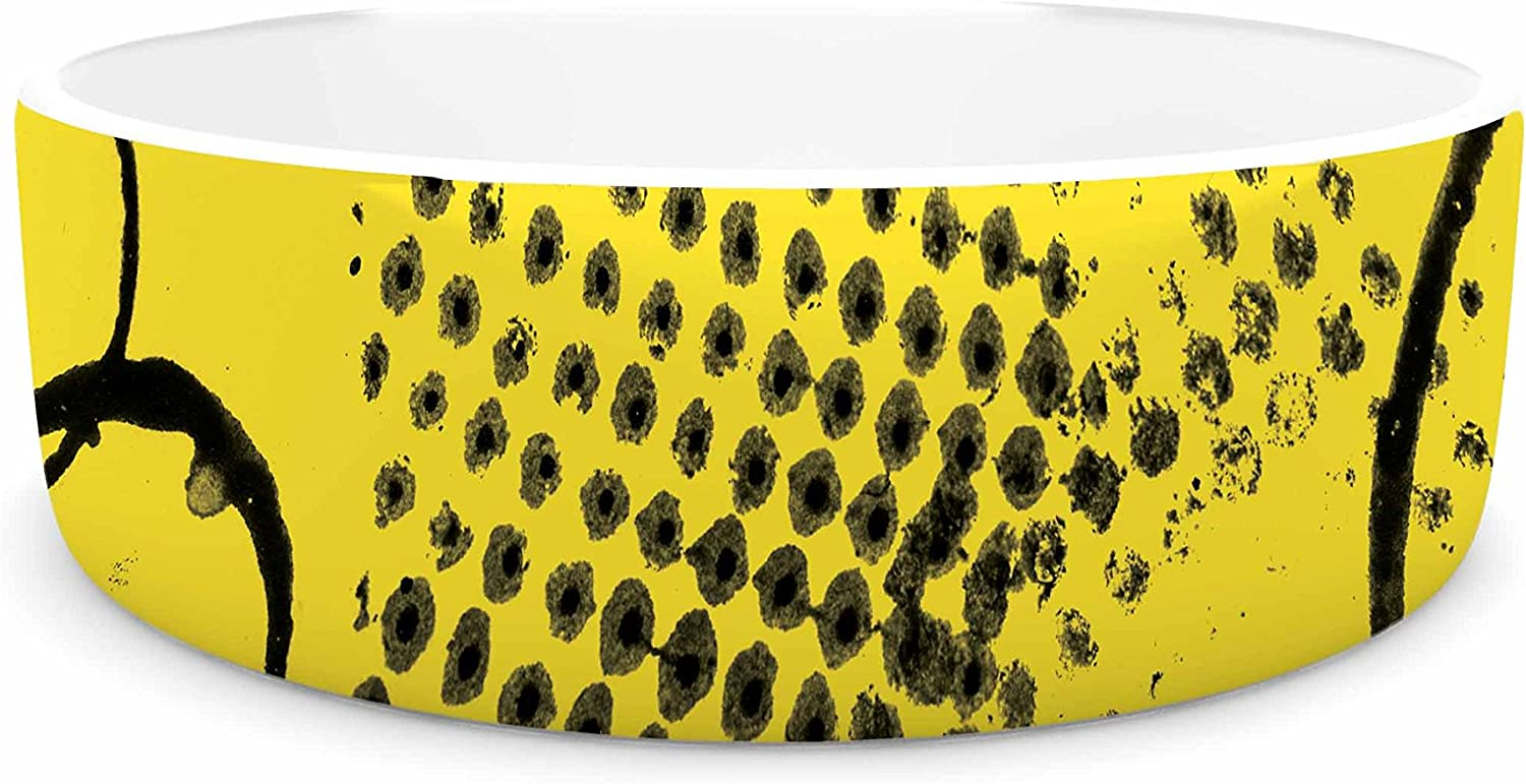 KESS InHouse Bruce Stanfield Traces Texture in Yellow Black Yellow Painting Pet Bowl, 7