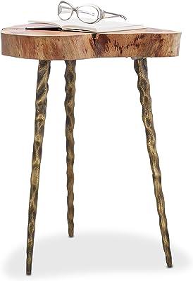 Relaxdays Table d'appoint en bois rondelle d'arbre cadre en métal acacia 3 pieds HxD 58 x 45 cm, nature