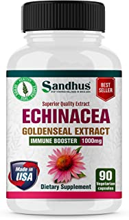 Echinacea Goldenseal - Immune Booster Supports Immune and Respiratory Health1000 mg per Serving Vegetarian Capsules 90 Ct- .