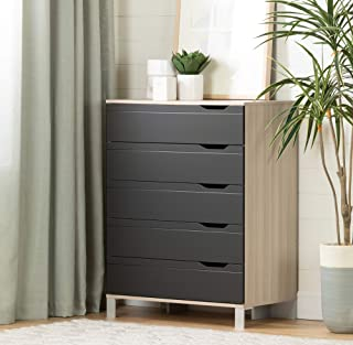 South Shore Kanagane 5-Drawer Chest-Soft Elm and Matte Charcoal