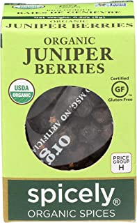 Spicely Organic Juniper Berries Whole 0.20 Ounce ecoBox Certified Gluten-Free