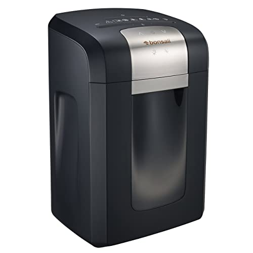 Bonsaii 120-Minute Heavy-Duty Cross-Cut Paper Shredder, CD and Credit Card Shredder Machine with 14-Sheet Paper Shredding Capacity, 6-Gallon Pullout Wastebasket with Transparent Window, Black (3S23)