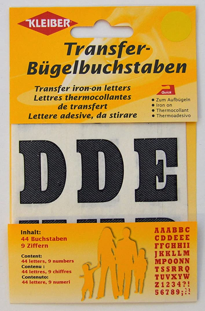 Original Kleiber Transfer iron-on letters black-coloured, Content: 44 letters & 9 numbers