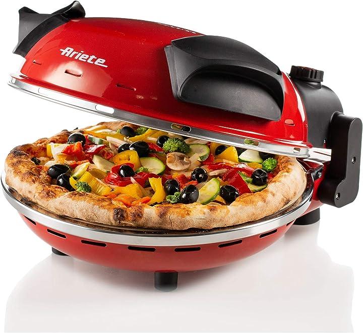 Ariete 909 pizza in 4 minuti, forno per pizza, 400 gradi, cuoce in 4', piastra in pietra refrattaria 33 cm B0716ZNRR8