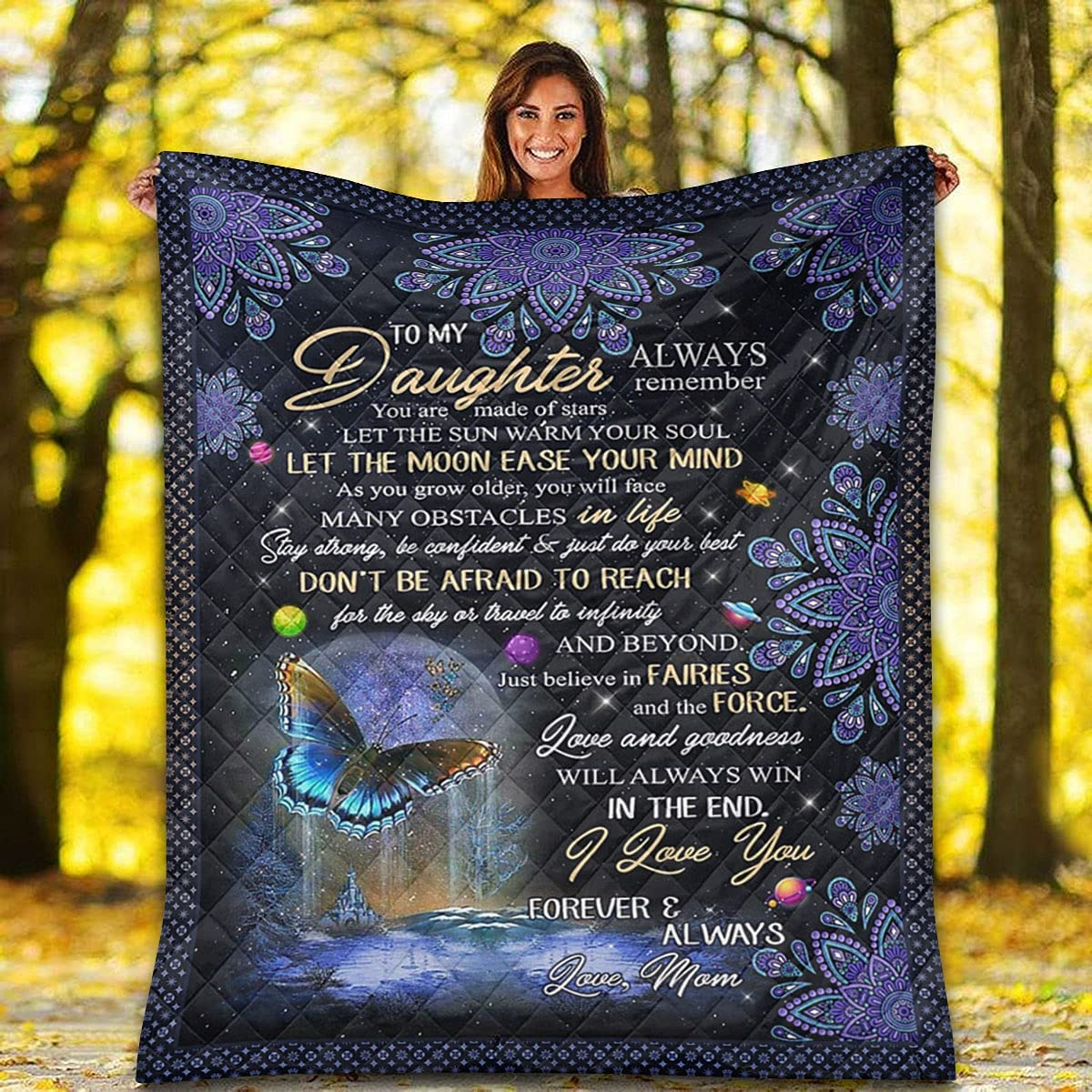 Special Blanket for Daughter Courier shipping free Quilt Recommended Love - I Butterfly Yo