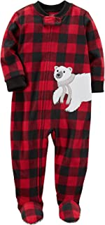 Boys' 12M-7 One Piece Polar Bear Fleece Pajamas 12 Months, Red/Black