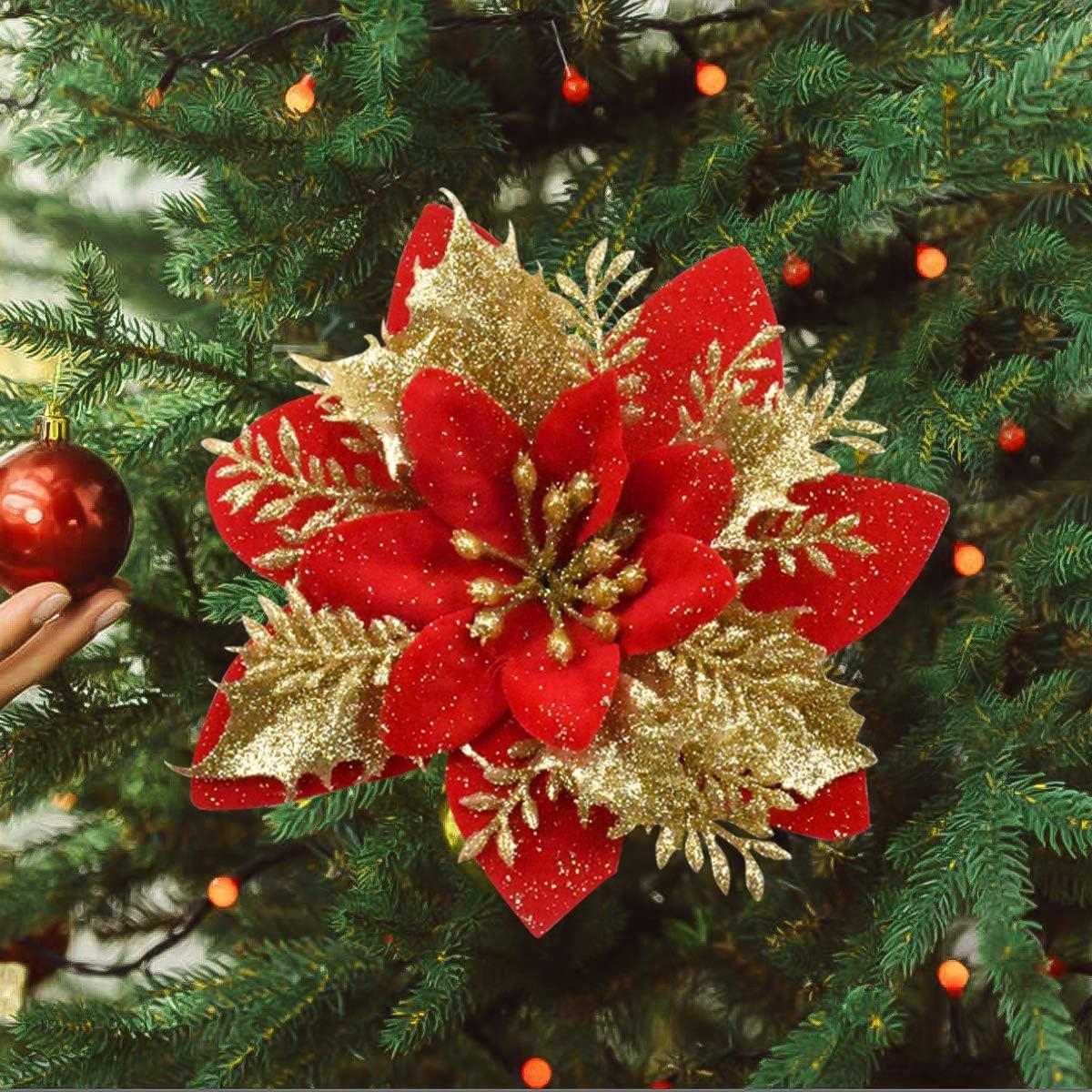 Ornamento Albero di Natale Fiore Artificiale per Albero//Ghirlanda Deocorazioni Rosso HQdeal 15Pz Addobbi Albero di Natale Decorazioni Natalizie per Albero,Fiori Albero di Natale Glitter Poinsettia