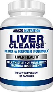 Best Liver Cleanse Detox & Repair Formula – 22 Herbs Support Supplement: Milk Thistle Extracts Silymarin, Beet, Artichoke, Dandelion, Chicory Root – Arazo Nutrition Review