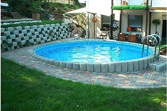 konifera Juego completo (9piezas): empotrable redondo de piscina con acero inoxidable de tiefbec Ken Escalera (en 6tamaños) 400cm, 110cm