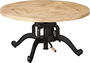 Scott Living 705528 Sawyer Adjustable Height Coffee Table, Natural/Black