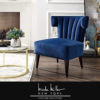 Nicole Miller Elmer Accent Chair - Velvet Upholstered | Channel Tufted Back | Tapered Legs | Glam Style | Navy