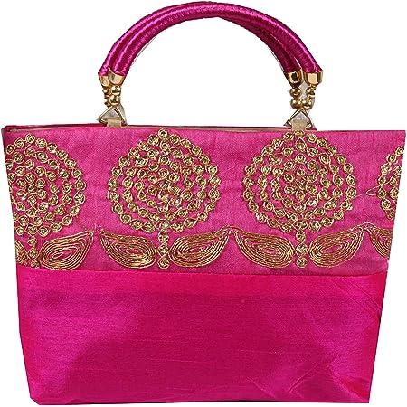 PrettyKraftsWomen's Cotton Mini Handbag (Pink)